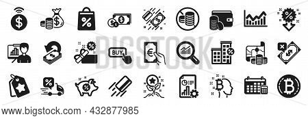 Set Of Finance Icons, Such As Shopping Bag, Cashback, Credit Card Icons. Delivery Discount, Bitcoin,