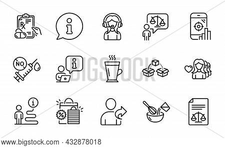 Line Icons Set. Included Icon As Legal Documents, Lawyer, Woman Love Signs. Shopping Bags, Latte, Pr