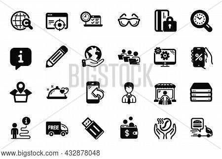 Vector Set Of Business Icons Related To Free Delivery, Coffee And Online Test Icons. Servers, Busine
