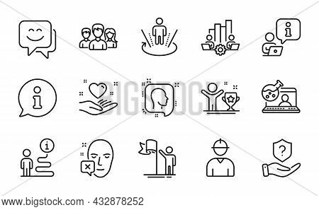 People Icons Set. Included Icon As Augmented Reality, Teamwork, Protection Shield Signs. Online Chem