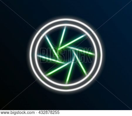 Glowing Neon Line Camera Shutter Icon Isolated On Black Background. Colorful Outline Concept. Vector