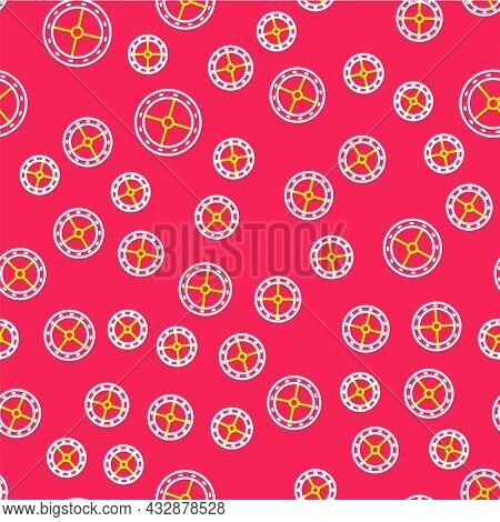 Line Round Wooden Shield Icon Isolated Seamless Pattern On Red Background. Security, Safety, Protect