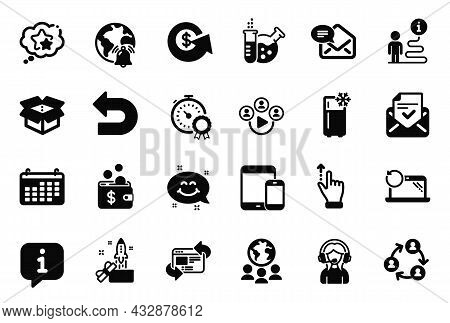 Vector Set Of Technology Icons Related To Recovery Laptop, Video Conference And Dollar Exchange Icon