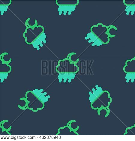 Line Cloud With Rain And Moon Icon Isolated Seamless Pattern On Blue Background. Rain Cloud Precipit
