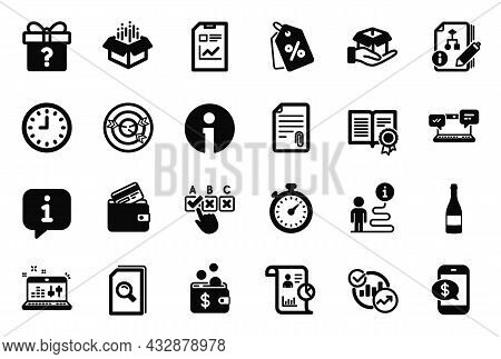 Vector Set Of Simple Icons Related To Correct Checkbox, Report Document And Attachment Icons. Diplom