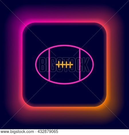 Glowing Neon Line Rugby Ball Icon Isolated On Black Background. Colorful Outline Concept. Vector