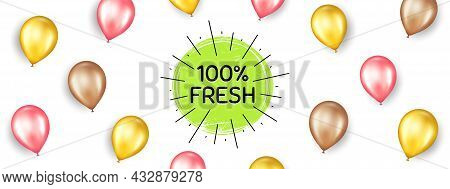 Fresh Organic Food Banner. Promotion Ad Banner With 3d Balloons. Nature Bio Product Tag. Vegetarian