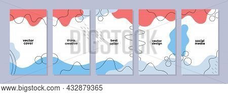 Set Of Abstract Backgrounds In Creative Trendy Style With Copy Space For Text. Editable Templates Fo