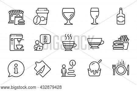 Food And Drink Icons Set. Included Icon As Wine Glass, Ice Cream, Food Signs. Food Market, Burger, T