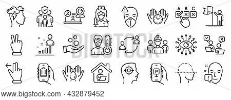 Set Of People Icons, Such As Wash Hands, Artificial Intelligence, Video Conference Icons. Face Scann