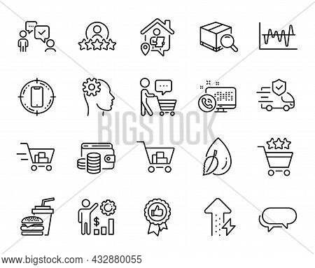 Vector Set Of Search Package, Web Call And Messenger Line Icons Set. Engineering, Positive Feedback