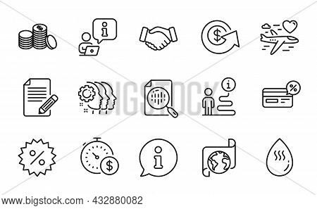 Business Icons Set. Included Icon As Handshake, Honeymoon Travel, Analytics Chart Signs. Dollar Exch