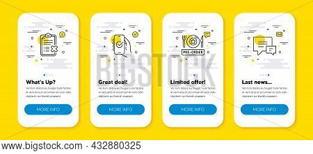 Vector Set Of Reject Checklist, Approved App And Pre-order Food Line Icons Set. Ui Phone App Screens