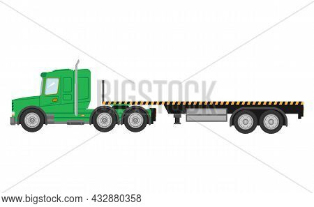 Flatbed Truck Vector Mockup On White For Vehicle Branding, Corporate Identity.