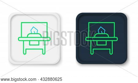 Line Glass Showcase For Exhibit Icon Isolated On White Background. Colorful Outline Concept. Vector