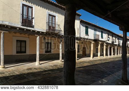 Streets With A Traditional Castilian Architecture With Its Houses With Arcades In Ampudia, Palencia,
