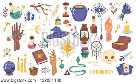 Magic Set, Halloween Witchcraft Elements Isolated Flat Cartoon Icons. Vector Doodle Of Witch Potion,