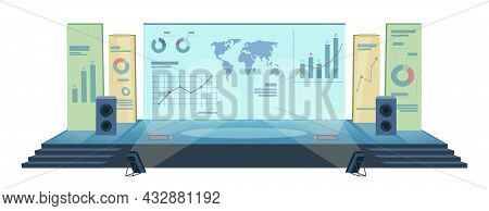 Conference Hall With Modern Stage Screen, Audience Isolated On White. Vector Presentation Room Displ