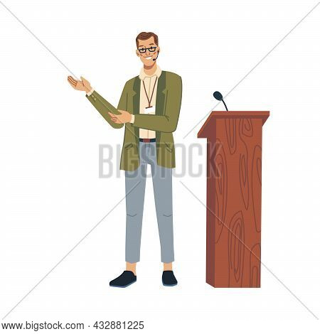 Speaker Lecturer Pointing On Something Isolated Flat Cartoon Character. Vector Teacher Professor Or
