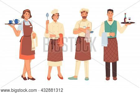 Workers Professions, Women And Men, Cooks And Waiters Isolated Flat Cartoon Characters. Vector Chef