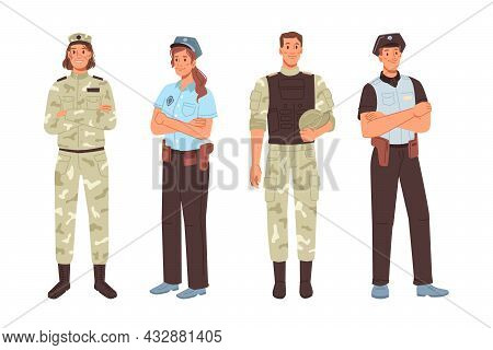 Police And Military Officer Isolated Men Women Cartoon Characters. Vector Army Workers Professions M