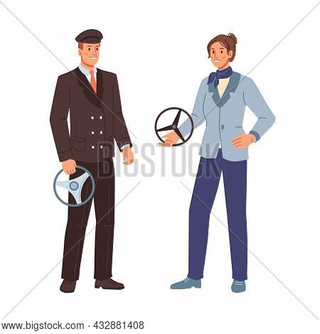 Drivers, Working Profession Of Man And Woman Isolated Cartoon Characters. Vector Taxi Cab, School Bu