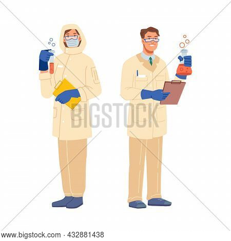 Laboratory Assistant And Scientist In Protective Uniform Isolated Man And Woman Flat Cartoon Charact