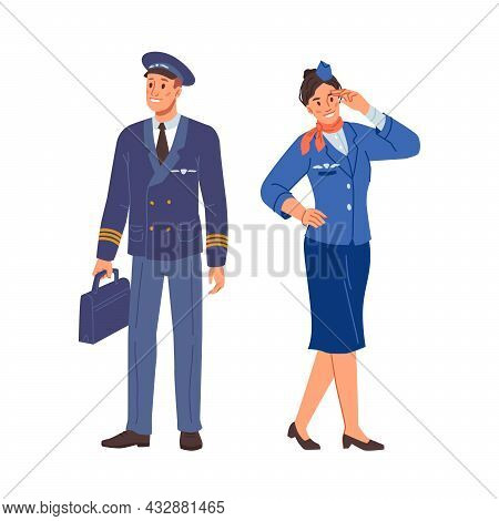Stewardess And Airplane Pilot In Uniform Isolated Flat Cartoon Characters In Uniform. Vector Aircraf