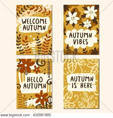 Vector Set Of Autumn Backgrounds. Bright Cute Posters With Autumn Leaves, Phrases And Flovers. Journ