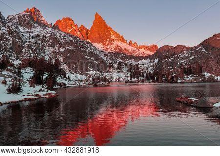 Hike to beautiful  Minaret Lake, Ansel Adams Wilderness, Sierra Nevada, California,USA.Autumn season.