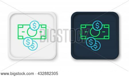 Line Stacks Paper Money Cash And Coin Money With Dollar Symbol Icon Isolated On White Background. Mo