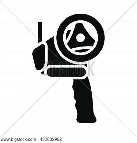 Scotch Tape Dispenser Icon. Black Stencil Design. Vector Illustration.