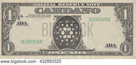 One Cardano (ada) Cryptocurrency Bill Simulating A Dollar Bill. Finance And Investment Concept.