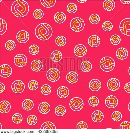 Line Dna Symbol Icon Isolated Seamless Pattern On Red Background. Genetic Engineering, Genetics Test