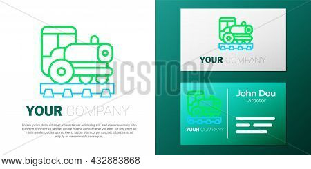 Line Vintage Locomotive Icon Isolated On White Background. Steam Locomotive. Colorful Outline Concep
