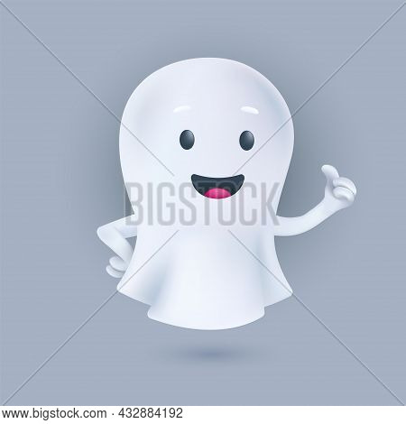 Funny Cartoon Flying Ghost Smiling And Showing A Thumbs Up. Friendly Phantom Icon. Happy Halloween 3