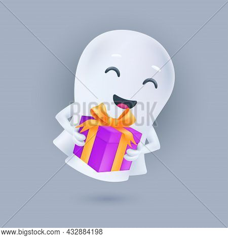 Cute Smiling White Ghost With A Gift Box In His Hands. Happy Halloween. Friendly Phantom Icon. Smili