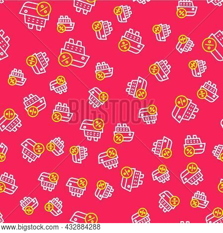 Line Cruise Ship Icon Isolated Seamless Pattern On Red Background. Travel Tourism Nautical Transport