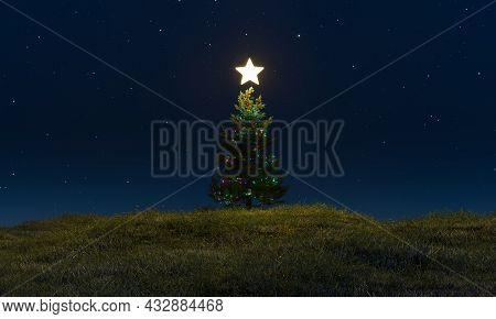 Christmas Tree On A Green Meadow In The Starry Night With A Shining Star On Top. 3d Rendering