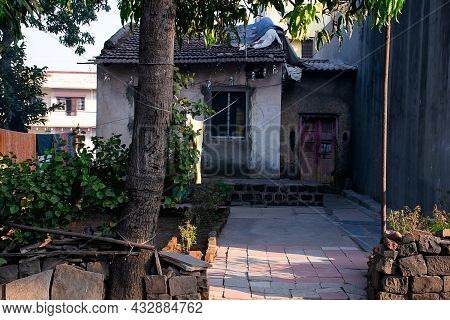Stock Photo Of Indian Village House Or Old Cottage, Old Style House With Traditional Roof Tile And S
