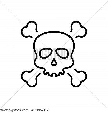 Black Skull With Crossbones For Celebration Halloween Line Icon. Skeleton Face With Cross Bones Line
