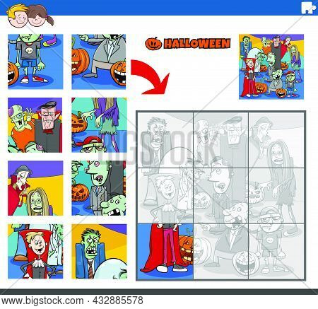 Cartoon Illustration Of Educational Jigsaw Puzzle Game For Children With Haloween Characters