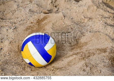 Vladivostok, Russia - Jule 7: Voleyball On The Beach. Collored Ball On The Pebble. Close-up. Copy Sp