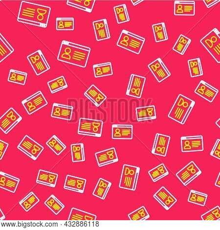 Line Online Class Icon Isolated Seamless Pattern On Red Background. Online Education Concept. Vector