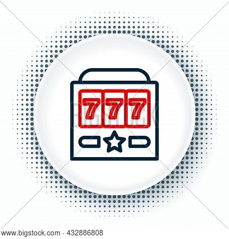 Line Slot Machine With Lucky Sevens Jackpot Icon Isolated On White Background. Colorful Outline Conc