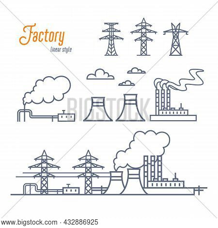 Energy Plant Or Industrial Factory Icons Set. Various Electricity Plant Buildings, And Transmission