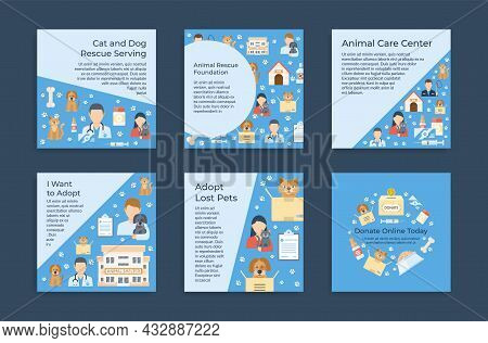 Collection Animal Care Squared Poster Vector Illustration Advertising Cat And Dog Rescue Serving