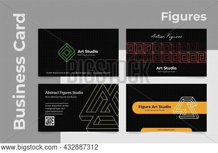 Collection Of Realistic Business Card Geometric Figure Shape Design Template Vector Illustration