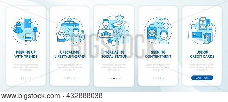 Consumerism Motivation Blue Onboarding Mobile App Page Screen. Buying Contentment Walkthrough 5 Step