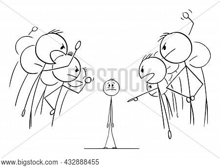 Crowd Or People Or Colleagues Is Blaming Guilty Person , Vector Cartoon Stick Figure Illustration